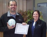 Yours Truly with the winner of my 2011 Glass Snowball Drawing